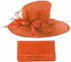 Max and Ellie Events Hat with Matching Large Occasion Bag in Orange
