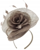 Elegance Collection Rose Pillbox Headpiece in Otter