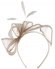 Elegance Collection Sinamay Loops and Feathers Fascinator in Oyster