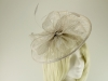 Failsworth Millinery Sinamay Disc Headpiece in Pearl-Silver