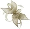 Failsworth Millinery Sinamay Diamante Clip Fascinator in Pearl-Silver