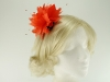 Failsworth Millinery Feather and Beads Fascinator in Persimmon