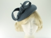 Failsworth Millinery Wool Felt Pillbox Headpiece in Petrel