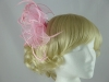 Aurora Collection Fascinator with Curled Fabric and Biots in Pink