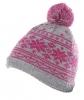 Hawkins Snowflakes Beanie Ski Hat in Pink & Grey