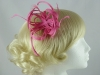 Loops in Hessian Fascinator in Pink
