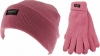 Thinsulate Ladies Beanie Ski Hat with Matching Gloves in Pink