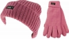 Thinsulate Ladies Chunky Beanie Ski Hat with Matching Gloves in Pink