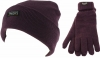 Thinsulate Ladies Beanie Ski Hat with Matching Gloves in Plum