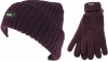 Thinsulate Ladies Chunky Beanie Ski Hat with Matching Gloves in Plum
