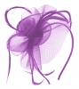 Aurora Collection Swirl & Biots Fascinator on aliceband in Purple