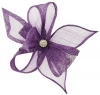 Elegance Collection Diamante Clip Fascinator in Purple