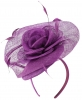 Elegance Collection Rose Pillbox Headpiece in Purple