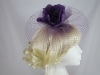 Hawkins Collection Flower and Net Headpiece in Purple