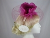 Hawkins Collection Flower and Net Headpiece in Raspberry