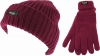 Thinsulate Ladies Chunky Beanie Ski Hat with Matching Gloves in Raspberry