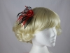 Two Tone Rose Fascinator in Red & Black