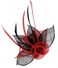 Aurora Collection Two Tone Rose Fascinator in Red & Black