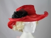 Collapsible Wedding Hat in Red & Black