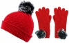 Alice Hannah Alina Diagonal Ribbed Beanie with Matching Gloves in Red