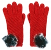Alice Hannah Alina Diagonal Ribbed Gloves in Red