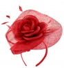Elegance Collection Rose Pillbox Headpiece in Red
