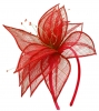 Elegance Collection Sinamay Leaf Fascinator in Red