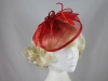 Aurora Collection Sinamay Veil and Leaves in Red