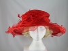 Wide Brimmed Rosette Organza Hat in Red