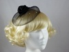 Satin Twist and Veil Fascinator in Black & Silver