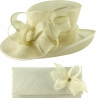 Elegance Collection Events Hat with Matching Sinamay Diamante Bag in Ivory