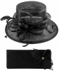 Elegance Collection Sinamay Wedding Hat with Matching Sinamay Bag in Black