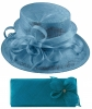 Elegance Collection Sinamay Wedding Hat with Matching Sinamay Bag in Bluebell