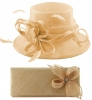 Elegance Collection Sinamay Wedding Hat with Matching Sinamay Bag in Chalk