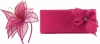 Elegance Collection Sinamay Leaf Fascinator with Matching Occasion Bag in Fuchsia