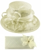 Elegance Collection Sinamay Wedding Hat with Matching Sinamay Bag in Ivory