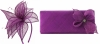Elegance Collection Sinamay Leaf Fascinator with Matching Occasion Bag in Purple