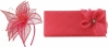 Elegance Collection Sinamay Leaf Fascinator with Matching Occasion Bag in Rosie