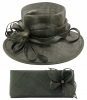 Elegance Collection Sinamay Wedding Hat with Matching Sinamay Bag in Slate