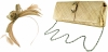 Failsworth Millinery Aliceband Sinamay Fascinator with Matching Bag in Taupe-Silver