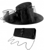 Failsworth Millinery Bow Events Hat with Matching Sinamay Occasion Bag in Black