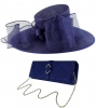 Failsworth Millinery Bow Events Hat with Matching Sinamay Occasion Bag in Cobalt