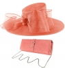 Failsworth Millinery Bow Events Hat with Matching Sinamay Occasion Bag in Coral (SS19)