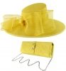 Failsworth Millinery Bow Events Hat with Matching Sinamay Occasion Bag in Daffodil