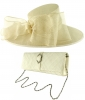 Failsworth Millinery Bow Events Hat with Matching Sinamay Occasion Bag in Ivory