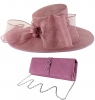 Failsworth Millinery Bow Events Hat with Matching Sinamay Occasion Bag in Orchid
