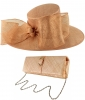 Failsworth Millinery Bow Events Hat with Matching Sinamay Occasion Bag in Rose-Gold