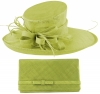 Max and Ellie Events Hat with Matching Large Occasion Bag in Lime