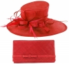 Max and Ellie Events Hat with Matching Large Occasion Bag in Poppy