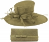 Max and Ellie Events Hat with Matching Occasion Bag in Taupe